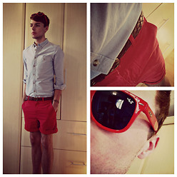 Dapper Gent Blog - Asos Oxford Shirt, Asos Chino Shorts, Cedarwood State Woven Belt, Ray Beri Sunglasses, Matalan Jesus Bracelet - Sleeping Sickness