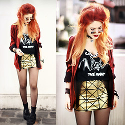 Lua P - Black Milk Clothing Skirt, Vow T Shirt - Golden Pyramids.