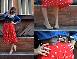 Katherine Pearce - H&M Oatmeal Infinity Scarf, Thrifted Denim Button Down Shirt, Vintage Red Midi Skirt, Payless Tan Stacked Wood Heels, Vintage Brown Leather Belt - Breezy