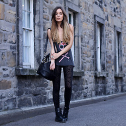 Anouska Proetta Brandon - Wildfox Couture Tank Top, Storets Bag, Black Milk Clothing Leggings, Dr. Martens Boots - Zombie.