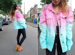 Kavita D - Youwearfashion Dip Dye Studded Diy Denim Jacket, Jeffrey Campbell Litas - Spikes&Studs