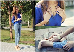Lina Linadelika - Just Female Jeans, Acne Studios Shirt, Tiffany & Co. Necklace, Michael Kors Watches, Christian Louboutin Shoes - Everything