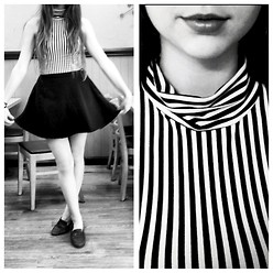Megan Braaten - American Apparel Striped Cotton Spandex Jersey Sleeveless Turtleneck Crop Top, American Apparel Natural Denim Circle Skirt, Thrifted Leather Penny Loafers, American Apparel Aa Petroleum Free Lip Gloss    Topless - You Don't Know What Love Is