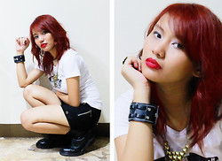 Janille Rose Olegario - Spoofs White Shirt, Next Jeasn Black Shorts, Dr. Martens Black Boots, Red Hair, Leather, Gold Necklace - Hot in Red♥