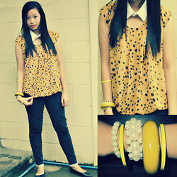 Cherys L - D.I.Y White Collar, Trinoma Mustard Polkadots Top, Mustard And Yellow Bangles - Mustard with a Polk dots