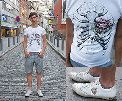 Christophe B. - River Island Checked Shorts, Imperial Graphic T Shirt, Blackstone White Shoes - My heart was replaced by a rose