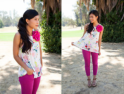 Vanessa R - Lucky Brand Wedges, H&M Floral Top - Pink Denim