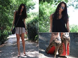 Katia Peneva - H&M Top, Chelsea Flower Skirt, Chanel Bag, Christian Louboutin Shoes, Ray Ban Sunglasses, Hermës Bracelet - Day-Night