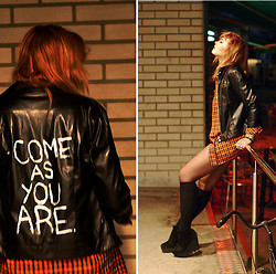 Paula Ilona Viktoria - 2n Hand + Diy Leather Jacket, 2n Hand Flanel Shirt, Gina Tricot Socks, Cheap Monday Wedges - COME AS YOU ARE.