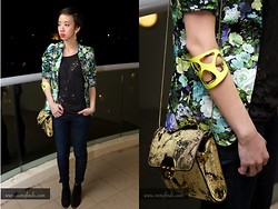 Nora Finds - Mimco Bag, Molten Store Neon Cuff, Show Pony Floral Blazer, Ksubi Trashed Tank, Miss Sixty Skinny Jeans, Seychelles Boots - Too many trends at once?