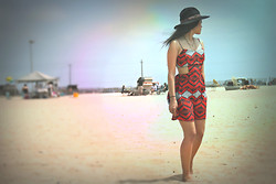 Maricel A - Forever 21 Hat, Random Store Cut Out Dress, Bp Double Chain M Necklace - Feet in the sand