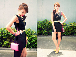 Dominique Marie Tiu - Rue Black Mullet Dress, Zara Neon Pink Clutch, H&M Tribal Neon Bracelet, H&M Yellow And Pink Neon Necklaces, H&M Neon Yellow Belt, H&M Yellow Peep Toe Heels - Havin a Bright and Sunny Disposition