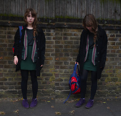 Alice B - Suede Coat, Vintage Backpack, Silk Skirt, Brothers T Shirt, Vintage Suede Shoes, Indian Waistcoat - One Man On A Lonely Platform
