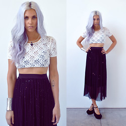 Rae Shoemaker - Urban Outfitters Geometry Wire Choker Necklace, Urban Outfitters Lace Crop Top, Love Black Sequin Mesh Maxi Skirt, Sam Edelman Suede Wedges - This is Not the End...