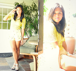 Desiree Atienza - Forever 21 Crochet Top, H&M Floral Printed Chiffon Shorts, Michael Kors Nude Heels - Brighter Days