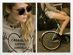 Tanya M. - Diy Bicycle, Ray Ban Round Metal Glasses, H&M Necklace, The Orphan's Amrs Sweatshirt, Topshop Denim/Lace Shorts, Topshop Studded Denim Backpack, Underground Creepers - Casanova loves himself