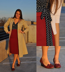Katherine Pearce - Vintage Camel Trench Coat, Vintage Wine Pencil Skirt, Payless Ruffle Wedges - Vintage Trench
