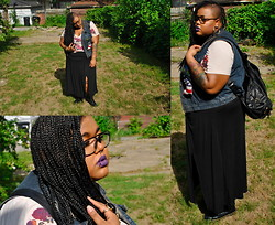 Tiffany Tucker - Asos Floral T  Shirt, Simply Be Maxi Skirt, Urban Outfitters Bag, Forever 21 Hoops, Torrid Vest - Stuck in 92'