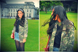 Panagiota P. - Topshop Studded Camo Jacket, Accessorize Headband - Never afraid to be original ##