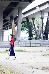 Hosanna Swee - Red Leather Jacket, Asos Maxi Dress, Zara Silver Court Heel - COEXIST
