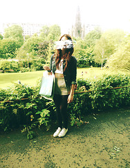Anna Routledge - Topshop Shorts, Topshop Crop Top, Boden Denim Jacket - Hiding my face away in edinburgh