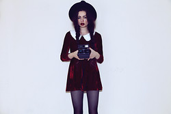 Violet Ell - Red Velvet Dress, Thrift Store Hat - 10.07.2012