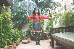 Timmi C. - Warehouse Red Sweater, Cotton On Leather Full Skirt, Topshop Stockings, H&M Bow - Red Sweater