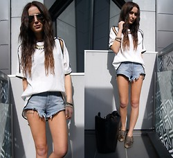 Nicola Kirkbride - Lookbook Store Top, Wrangler Shorts, Zara Bag - Yoke Shoulder Cut out Top