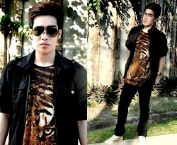 Michael John Alvarez - Dept. Store Tiger Print Top, Converse Sneakers, Dept. Store Black Leather Jacket - I am a WILD ONE...tame me now