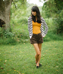 Serena J - Divided B&W Striped Cardigan, Forever 21 Mustard Tank Top, Gap Brown Shorts, Ross Black Flats - Summer Stripes