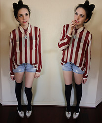 Allie Finch - Forever 21 Striped Maroon/Cream Blouse, Pacsun Ripped Jean Shorts, Forever 21 Navy Knee High Socks, Urban Outfitters Flats - It's about time