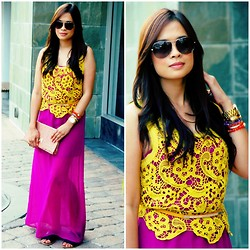 Maricel A - Marc By Jacobs Sunglasses, H&M Clutch, Marni Sandals - Puple and Yellow