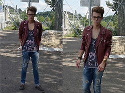 Eliah M - Lunettes Glasses, Zara Red Leather Jacket, Depeche Mode Tank, Zara Jeans, Zara Mokassins - Feeling's unknown and you're all alone