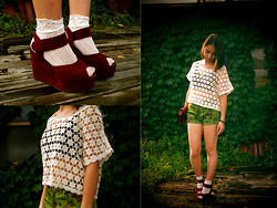 N. W. - Sandal, Top, Handmade Pants, Lace Socks - *Flowers*