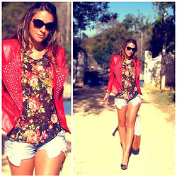 Vanessa Vasconcelos - Queens Wardrobe Spiked Jacket, Asos Floral T Shirt, Asos Denim Shorts - Floral Rocker