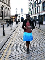Olutosin K - H&M Red Jumper, Primark Jacket, Charity Shop Tie   Dye Dress, River Island Boots - Tie - dye dress, Red jumper