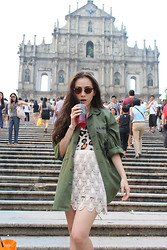 Melissa Jo - Vintage Military Jakcet, Gfd Lace Skirt, Super - Being Tourist in Macau, China!