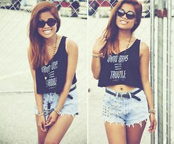 Aly Silverio - Jawbreaking Crop Top, Declared Studded Shorts, House Of Harlow Sunglasses - Band Boys = Trouble