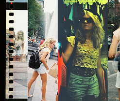 Brianne Rosa - Mom's Old Knapsack, Lf Southampton Lace Crop Top, Express Jean Shorts - Lomography