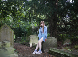 Alice B - Giorgio Armani Sheer Top, Vintage Blue Shirt, Levi's® Vintage Shorts, Ebay Lavander Creepers - The Abandoned Graveyard