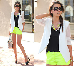 Annabelle Fleur - Pink & Pepper Pumps, J. Crew Shorts, Minusey Blazer, Reed Krakoff Bag - Bright As The Sun