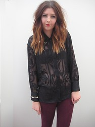 Charlotte . - Burnout Stud Blouse, Topshop Burgundy Suede Leggings - Burnout blouse ☥