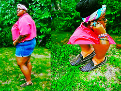 Tiffany Tucker - Unif Studded Loafers, Thrifted Scarf, Thrifted Top, Torrid Short - Saturated Details