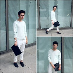 EDYE PAULAT - H&M Black Shoes, H&M Mint Sweater, Vintage Watch, H&M Clutch, Zara White Pants - Somewhere