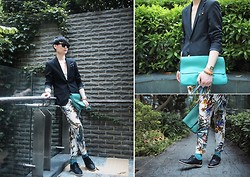 Edward Poon - Mykita Sunglasses, Induhomme Stripped Blazer, Zara Tropic Printed Trousers, Zara Dotted Pocket Square, H&M Green Socks - FLOWER POWER!!