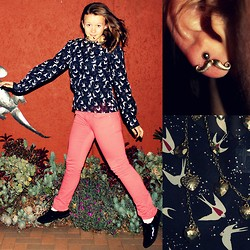 ♡Roneque J - Woolworths Bird Blouse, Mr Price Colour Jeans, Gold Heart Necklace, Claires Moustache Earrings - ✞Birdy✞