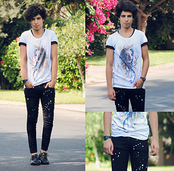 Ayoub Mani - Tee Twinne, Hells Bells Jeans, Paul Smith Shoes - Far away but close at heart