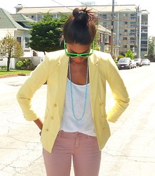 Nisarah Lewis - Topshop Yellow Blazer, Gap Rose Colored Denim, Ray Ban Neon Green Shades - Early Summer
