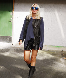 Hanna S - Zara Leather Vest - BLACK AND BLUE
