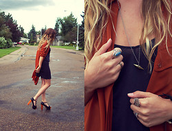 Julie C - Vintage Ring, Jeffrey Campbell Foxy Wood, Oak Necklace, Aritzia Long Shirt - Lost in My Mind